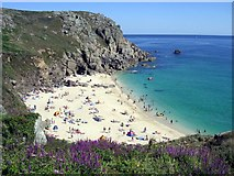 SW3821 : Porth Chapel beach in summer by Jim Champion