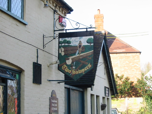 The Two Sawyers pub sign.