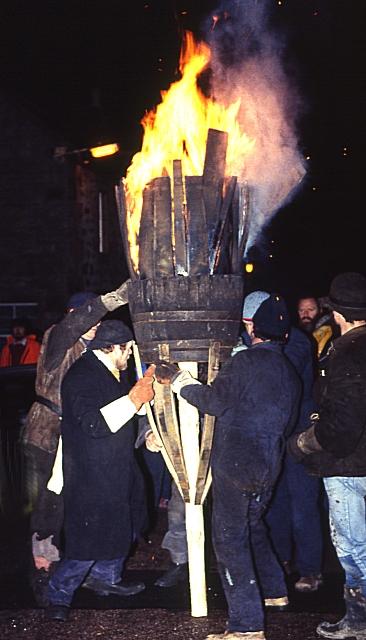 Burning of the Clavie (1) - the Clavie