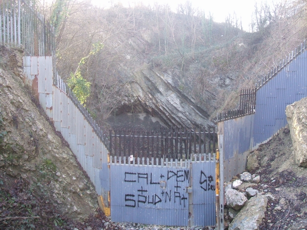 Sealed off quarry entrance at Wren's Nest