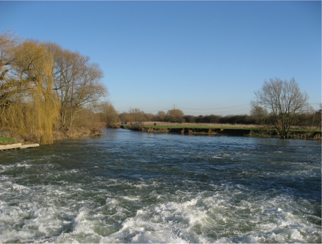 View east from the Weir at Rushey Lock, River Thames, Oxfordshire