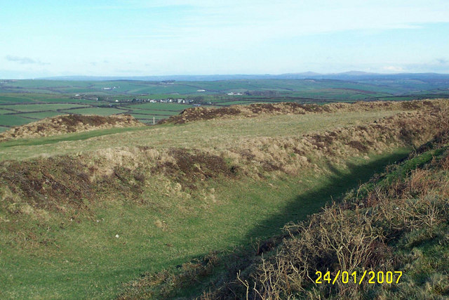 Earthworks at the Iron Age fort  Castle an Dinas