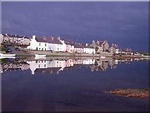 SH3568 : Riverside Cottages on the Afon Ffraw at high November tide by Angela Austin