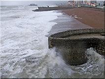 TQ3103 : Rough Sea at Brighton  showing beach by Christine Matthews