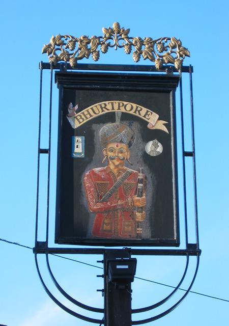 The Bhurtpore Inn sign