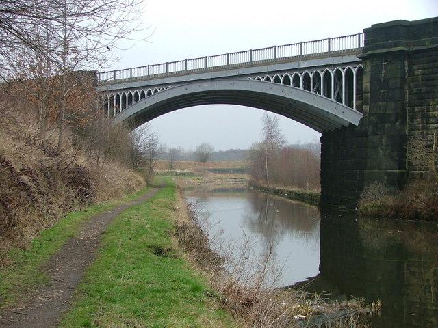 The Huddersfield to Dewsbury Railway crossing the Calder and Hebble Navigation