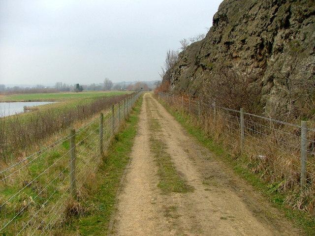 Track next to alkali waste heap