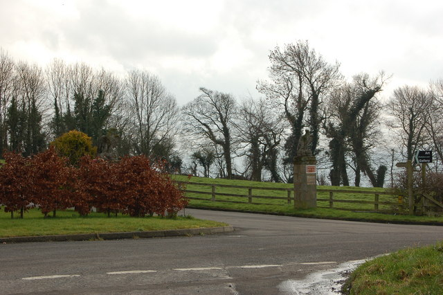Eagle gateposts at entrance to art gallery
