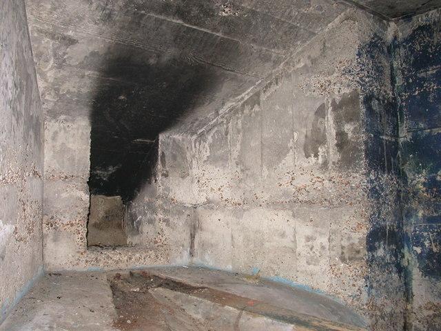 Interior of World War 2 ' Pillbox' defence emplacement