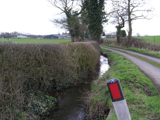 Moorleys Lane and stream with Amerton Farm in the Distance