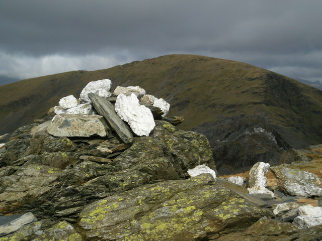 Summit cairn of Moelwyn Bach