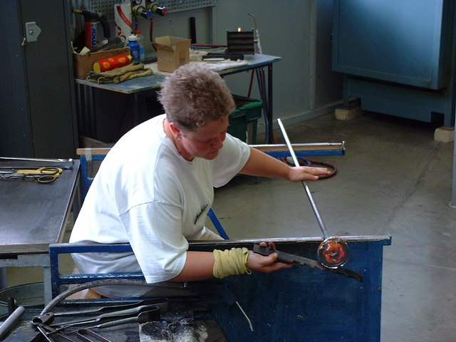 Shaping hot glass at the National Glass Centre, Sunderland