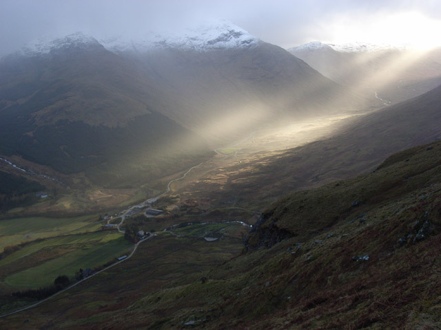 Shafts of sunlight on Inverlochlarig