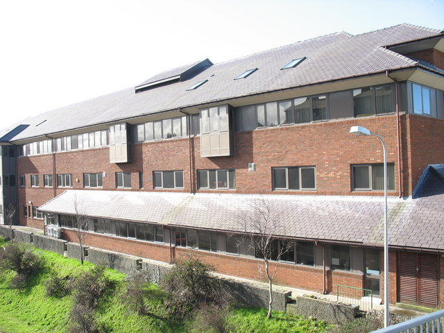 The back of the Arfon District Council Offices from the northern footbridge