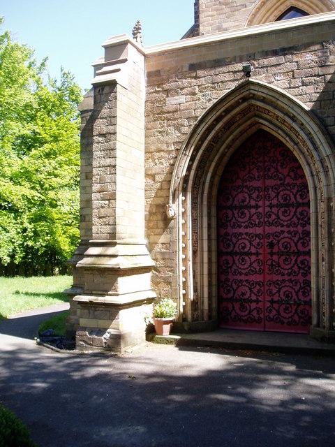 Church door and gardens