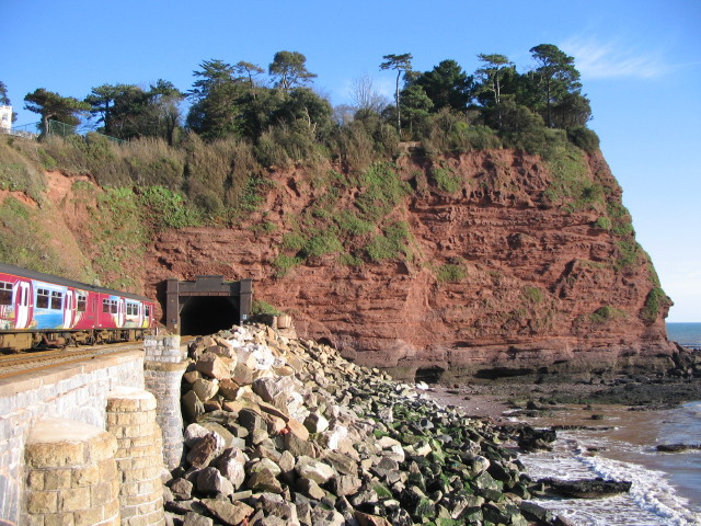 Train entering tunnel at Hole Head, Holcombe