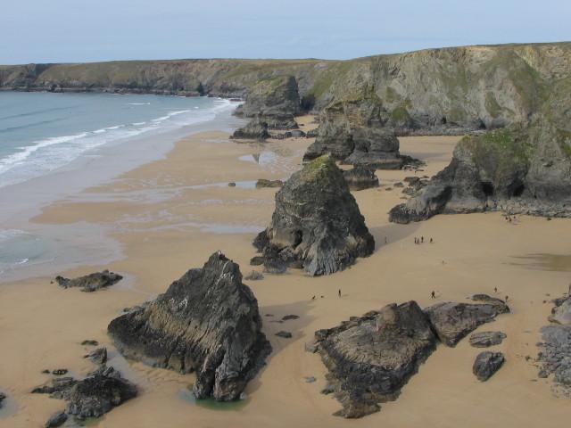 Bedruthan Steps at low tide