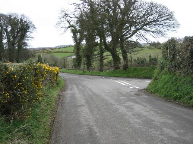 Moorcroft Road (right) joins Ballycoan Road.
