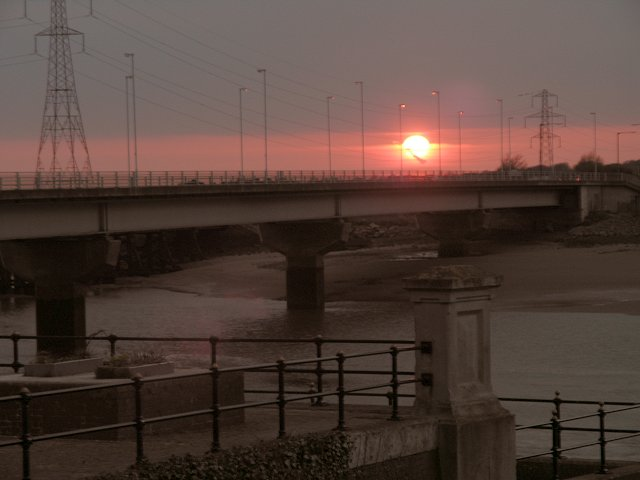 Sunset over Loughor Bridge