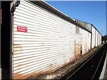 SX9193 : Warehouse wall, St David's by Derek Harper