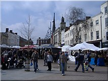 SO5140 : French market in High Town, Hereford by Roger Cornfoot