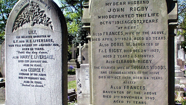 Eleanor Rigby headstone at St Peter's Church, Church Road, Woolton