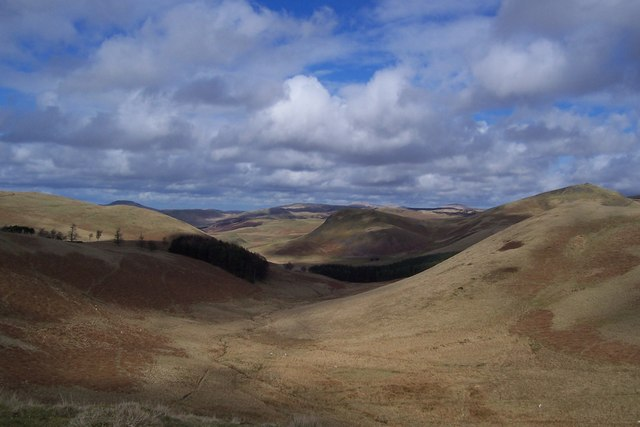 Looking NNE towards Stanshiel Hill (centre) from Dere Street