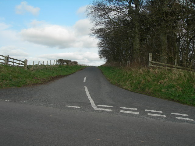 Road junction and trees north of Caverton Mill