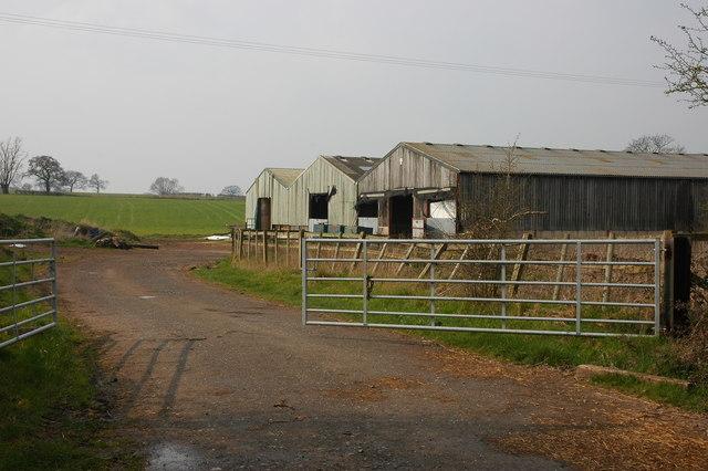 Farm buildings on Clattercut Lane near Rushock