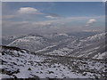 NO1475 : Leacann Dhub, the Cairnwell and Carn Aosda from Creag Leacach by Chris S