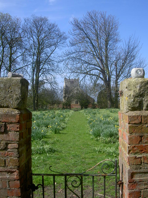 Aughton Church from the gateway into Aughton Hall