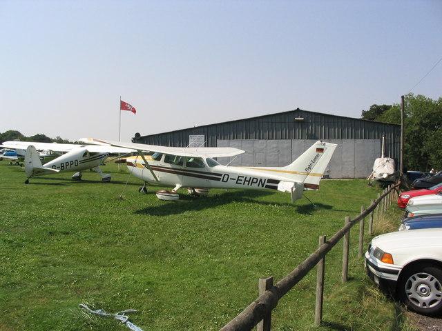 Damaged aircraft at Popham