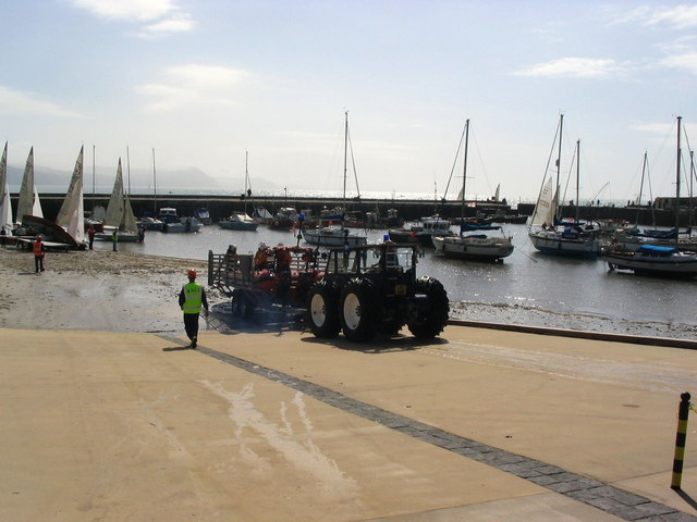 Lyme Regis harbour and lifeboat