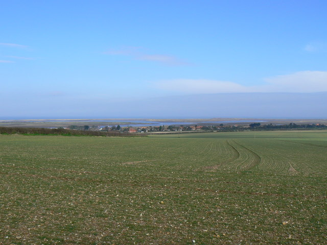 View of agricultural field and Scolt Head Island
