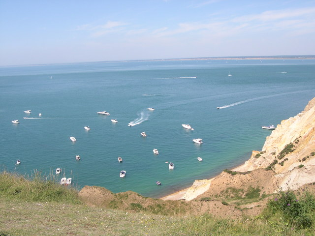 Yachts moored in Alum Bay