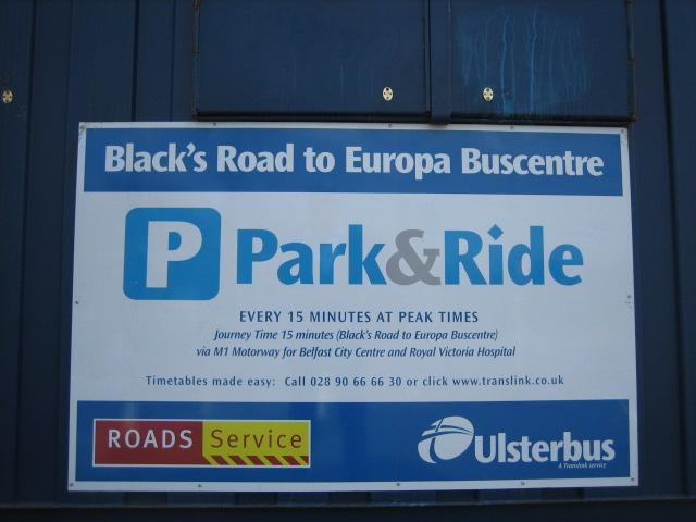 Notice at Park & Ride Car Park