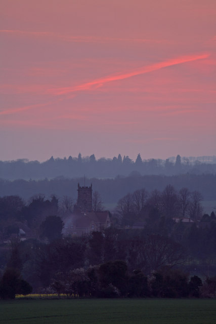 Sixpenny Handley after sunset