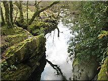 SH5848 : Nant Colwyn below the footbridge by Eric Jones