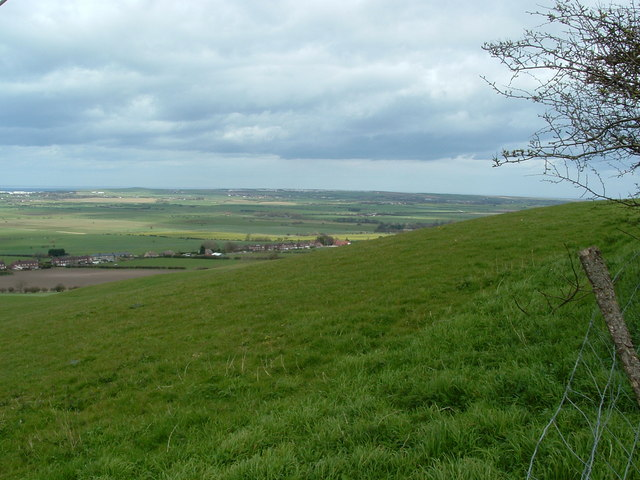 View east from top of Steep hill above Flixton