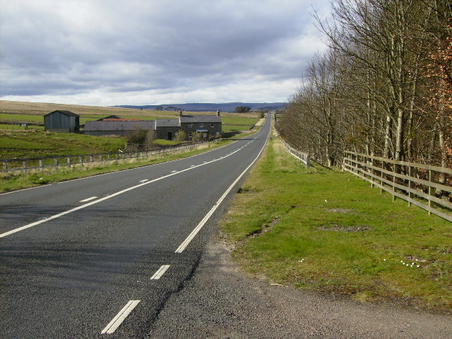The A68 road (Dere Street) looking towards Dargues