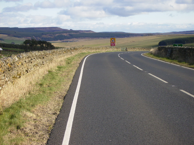 The A68 south west of Otterburn