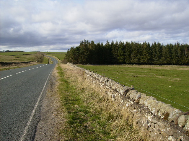 The A68 as it drops down to Miller Burn