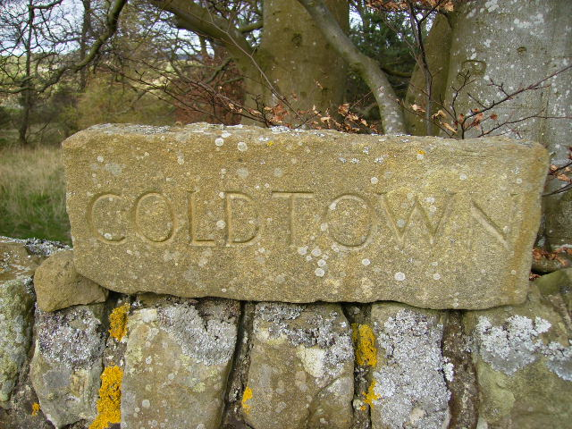 Carved stone name sign for Coldtown