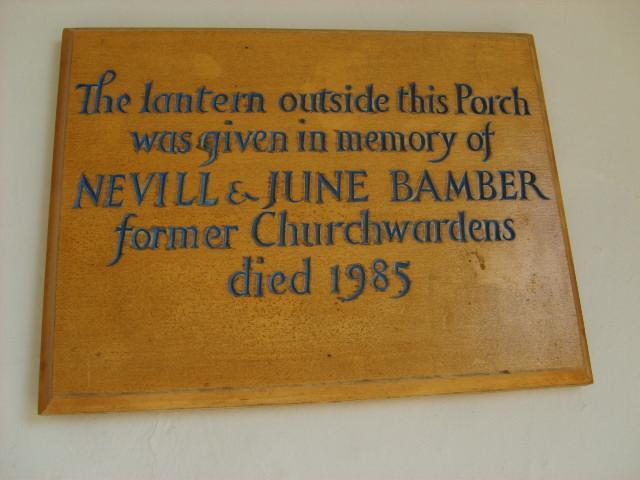 Memorial plaque to Nevill & June Bamber