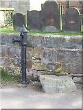 SJ8417 : Village pump and mounting block by John M