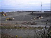 NT3698 : Trucks on the Oil Rig Construction Yard by Sandy Gemmill