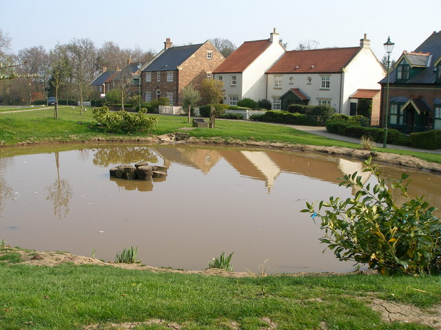 New houses and duckpond, Wynyard village.