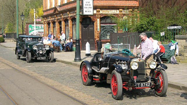 Alvis Saloon and Tourer outside The Red Lion, Crich Tramway village