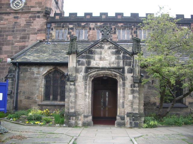 Porch of St Mary's The parish Church of Cheadle.