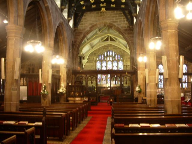 Interior of St Mary's The parish Church of Cheadle.